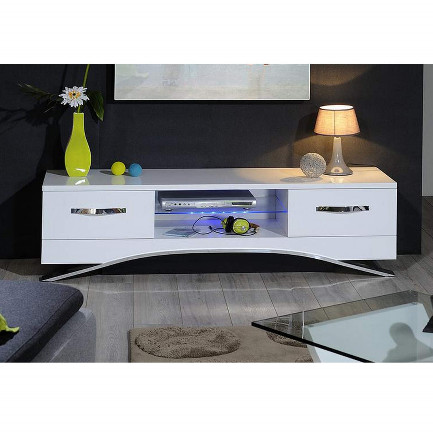 Sciae Smooth Modern TV Unit Stand with Drawers - White Gloss | Furniture123
