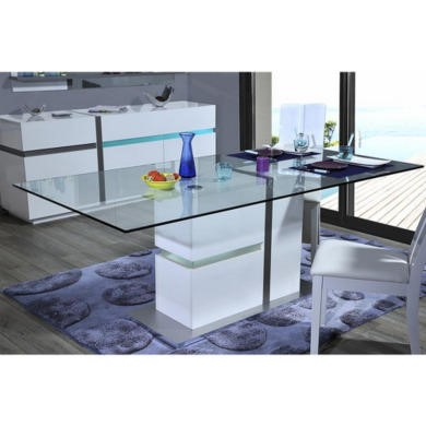 Sciae Cross 36 Glass top dining table with LED lighting