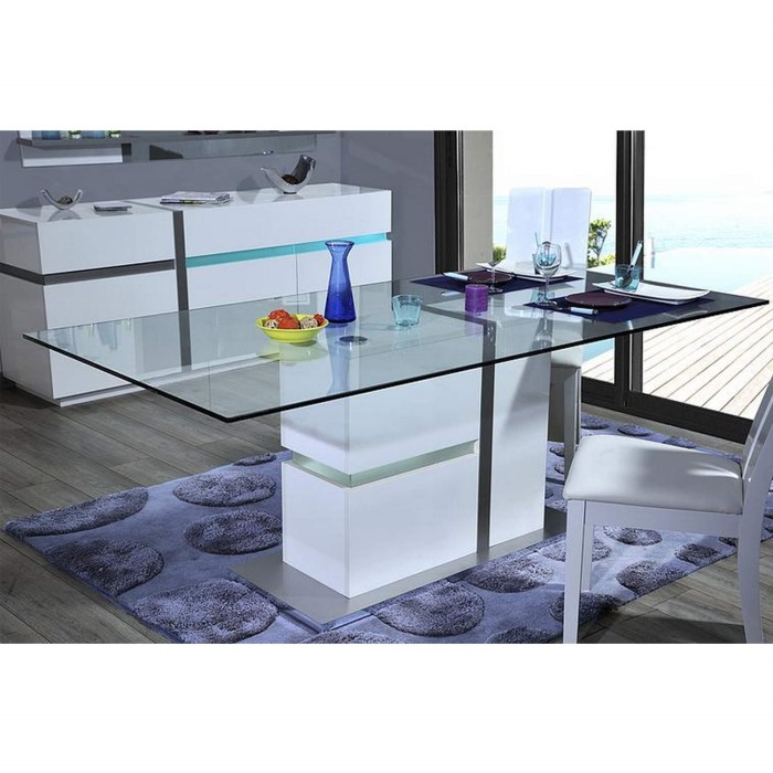 Sciae Cross 36 Glass Top Dining Table With Led Lit Base Furniture123