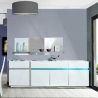 Sciae Cross 36 4 Door Sideboard in High Gloss White with LED lighting
