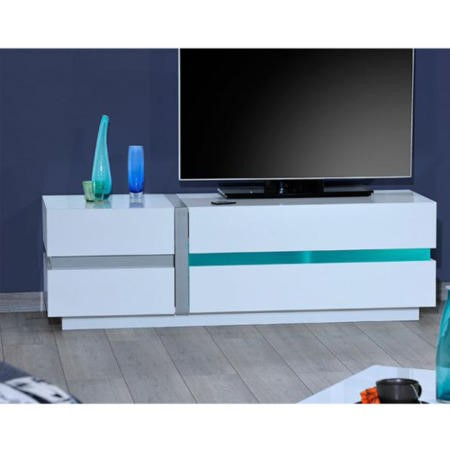 Sciae Cross 36 TV Unit in High Gloss White - Extra Large - TV's up to 55""