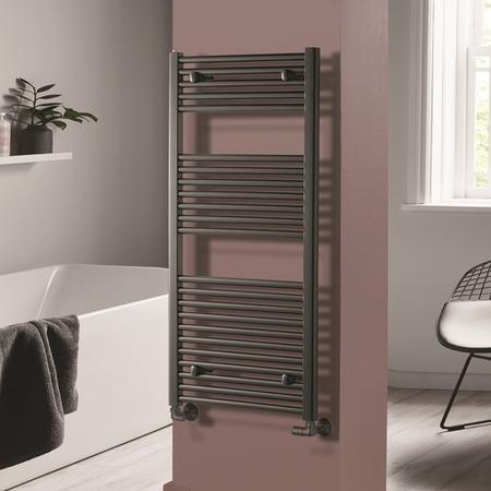 Pisa Anthracite Heated Towel Rail - 1200 x 600mm