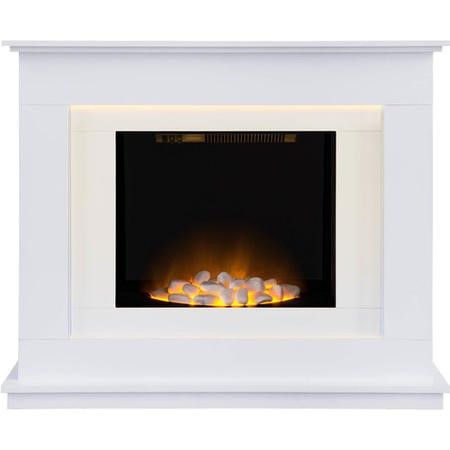 Adam Modern White LED Electric Fireplace Suite