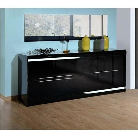 Sciae Ovio Black Gloss 2 Door 2 Drawer Sideboard