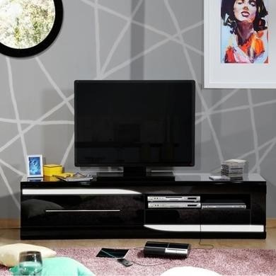 Sciae Ovio Black High Gloss TV Unit with 2 Drawers