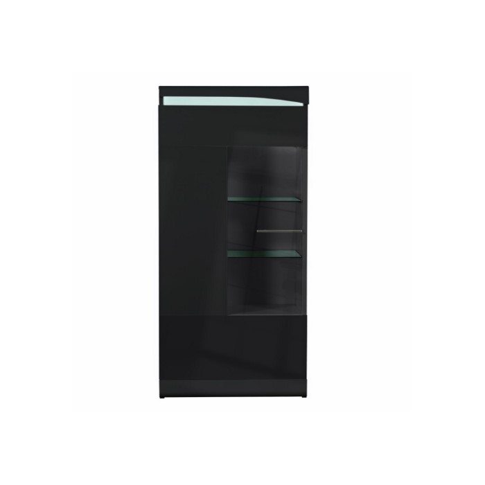 Sciae ovio black high gloss display cabinet with 1 glazed for Bathroom cabinets 50cm wide