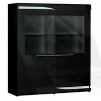 Sciae Ovio Black Gloss 2 Door Glazed Display Cabinet