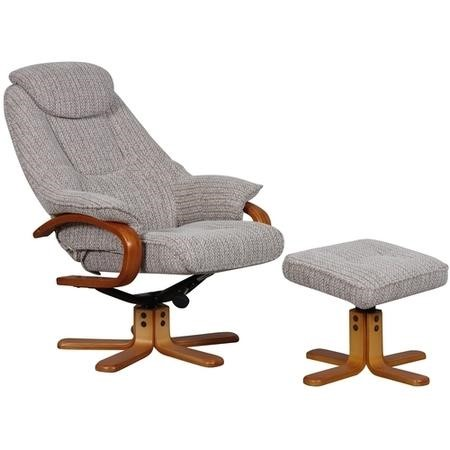 Hong Kong Swivel Fabric Recliner and Footstool In Wheat