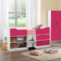 Birlea Furniture Paddington Cabin Bed in White and Pink