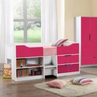 birlea furniture paddington cabin bed in white and pink