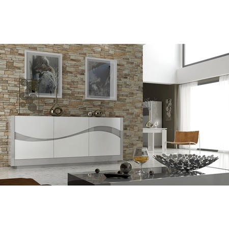 Sciae Flam Light Grey High Gloss 3 Door Sideboard