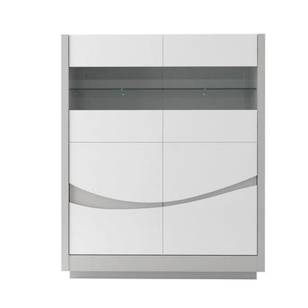 Sciae Flam Grey and White High Gloss 4 Door Storage Cabinet