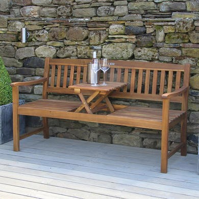 Cambridge Acacia Wood Bench With Pop Up Table Furniture123