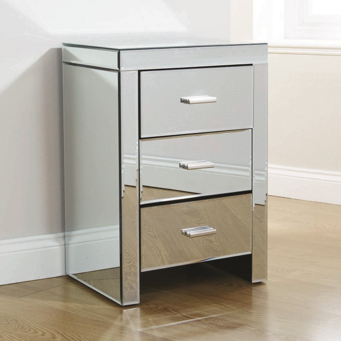 Mountrose venetian mirrored 3 drawer bedside table for 12 wide bedside table