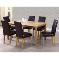 New Haven Large Dining Set with 6 Dining Chairs in Brown Faux Leather
