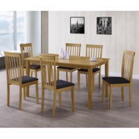 New Haven Large Dining Set with 6 Slatted Chairs in Black