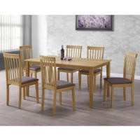 New Haven Large Dining Set with 6 Slatted Chairs in Brown
