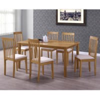 New Haven Large Dining Set with 6 Slatted Chairs in Cream