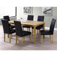 New Haven Large Dining Set with 6 Chairs in Black Faux Leather