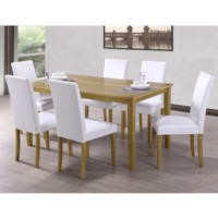 New Haven Large Dining Set with 6 Chairs in White Faux Leather