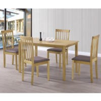 New Haven Medium Dining Set with 4 Slatted Chairs in Brown