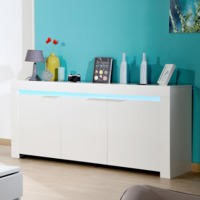 GRADE A2 - Sciae Galaxy Sideboard in White High Gloss with RGB Lighting