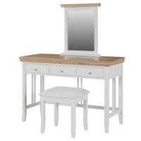 Charleston Dressing Table Set in Cream and Oak