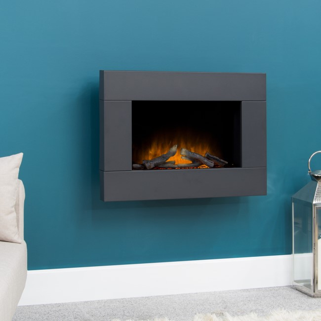 Adam Electric Wall Mounted Fire in Black - Carina Range