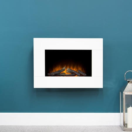 Adam Electric Wall Mounted Fire in Pure White - Carina Range