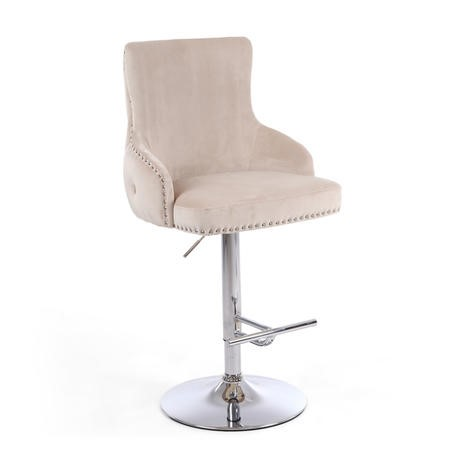 Ajustable Cream Velvet Bar Stool - Cairo