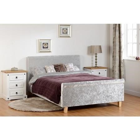 Seconique Shelby Double Bed in Crushed Velvet Grey