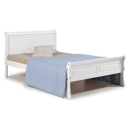 Seconique Georgia 4'6 Inch  Sleigh Bed in White