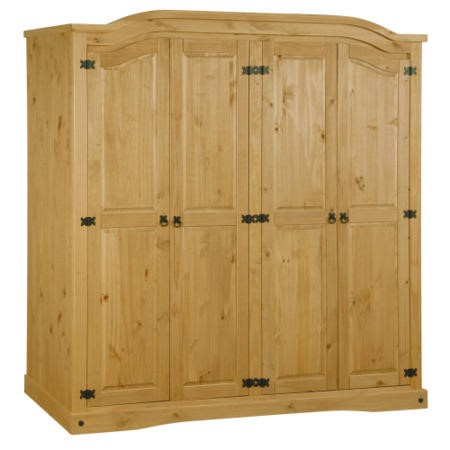Corona mexican 4 door wardrobe in solid pine furniture123 for Furniture 123 wardrobes