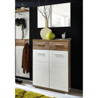 GRADE A3 -  Germania Center Shoe Cabinet in Oak and White - 12 Pairs