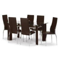 Julian Bowen Boston Dining Set with 6 Chairs in Brown