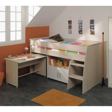 Parisot Charly Midsleeper Bed in Modern Ash and White
