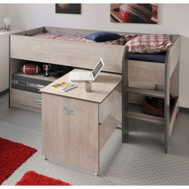 Parisot Fabric Midsleeper Bed in Grey Loft and Dark Grey