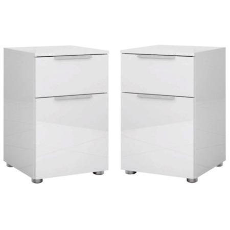 Set Of 2 Billi Joy White High Gloss Bedside Tables