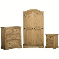 Corona Mexican 3 Piece Bedroom Set in Solid Pine