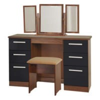 GRADE A2 - Welcome Furniture Hatherley High Gloss Large Dressing Table in Walnut and Black