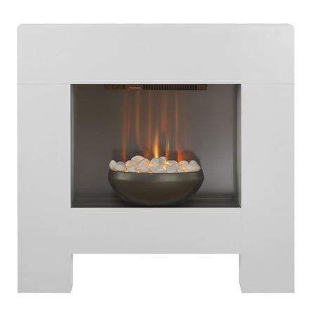 Adam Cubist Modern Electric Fireplace in Satin White