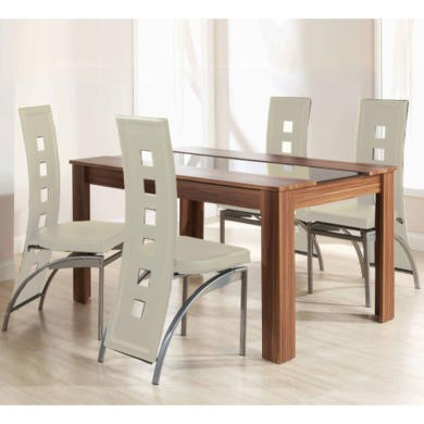 Mountrose Hudson Dining Table and 4 Chairs In Walnut and Cream