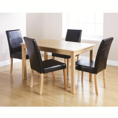 Mountrose Lisbon Dining Table and 4 Chairs In Oak