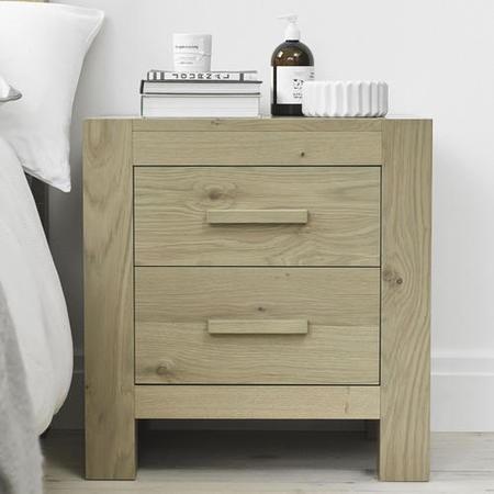 Bentley designs turin aged oak 2 drawer bedside table for Furniture 123