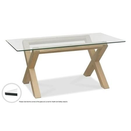 Bentley Designs Turin Aged Oak Glass Top Dining Table