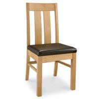 Bentley Designs Lyon Oak Slat Pair of Dining Chairs in Brown