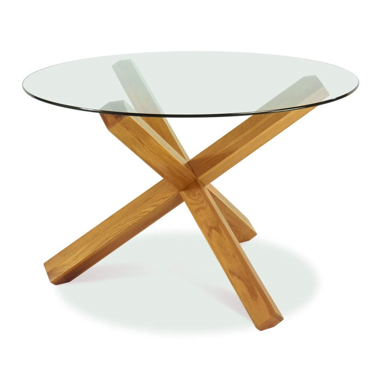 Bentley Designs Lyon Oak 4 Seater Glass Top Dining Table