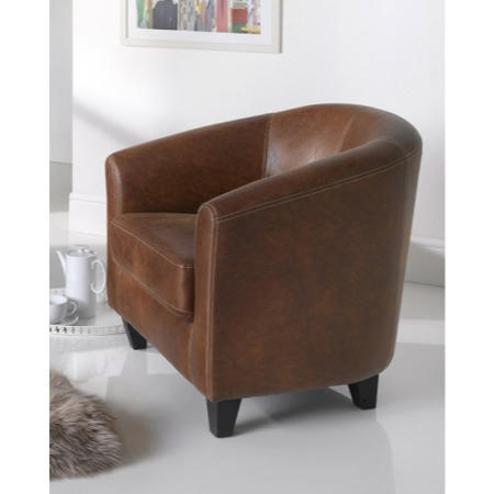 Wilkinson Furniture Nelson Antique Tan Faux Leather Tub