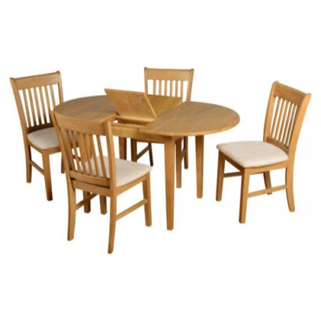Seconique Oxford Extending Oak Dining Set + 4 Mink Suede Dining Chairs