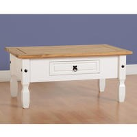 Seconique Corona 1 Drawer Coffee Table in White/Distressed Waxed Pine